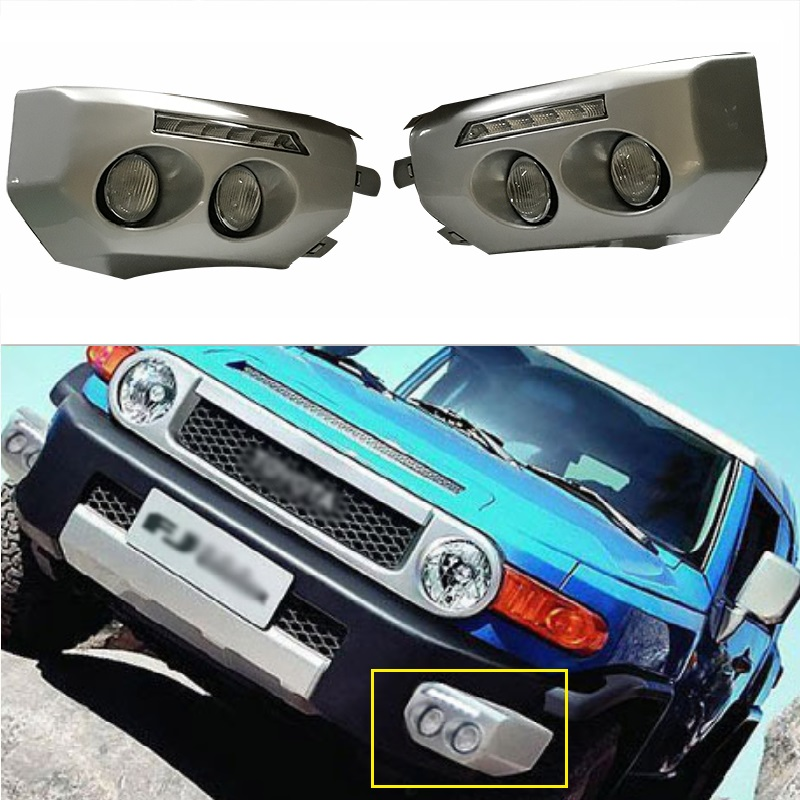 2 Pcs 12v LED DRL Daytime running light fit for Fj CRUISER 2008-2016 fog lamp frame Fog light with turn signal car accessories 12v car led drl daytime running light fog lamp cover with turn signal light for hyundai elantra 2016 2017