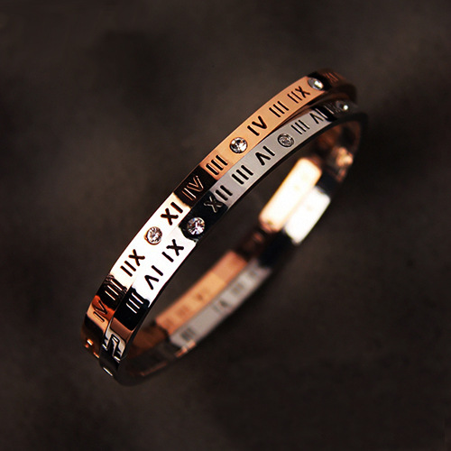 NANBO luxury Brand New Male Roman Numerals Bracelets Bangles Bracelet Women Stone Stainless Steel Bracelets Bangles Dropship