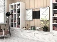 DIYHD 48 60 70 Stainless Steel Mini Top Mount Wooden Cabinet Double Sliding Barn Door Hardware
