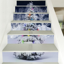2018 New 6Pcs Christmas Staircase Stair Riser Floor Sticker DIY Wall Decal  Stairs Decal Christmas Decorations