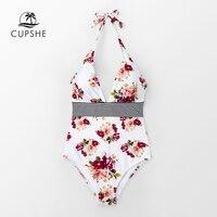 Cupshe floral impressão halter maiô de uma peça feminina sexy amarrado volta arco monokini 2020 menina praia fatos de banho|Body Suits| |  -