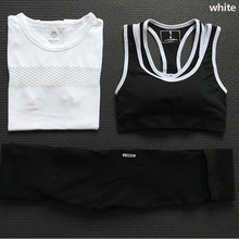 New Solid Color Women Sport Yoga Set Female Fitness Shirts+Sexy Brand Gym Yoga Top+High Waist Tight Sport Leggings Suit Clothing