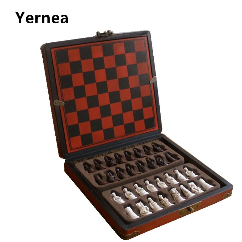 New Antique Chess  Set of Chess Wooden Coffee Table Antique Miniature Chess Board Chess Pieces Move Box Set Retro Style lifelike seiko настольные часы seiko qxe054bn коллекция настольные часы