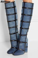 Trendy Design Blue Jeans Block Heel Knee High Boots Classy Denim PU Patchwork Round Toe Boots Fashion Chunky Heel Knee HighShoes