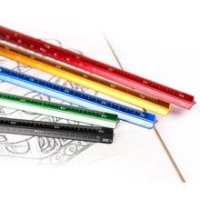 купить Triangular scale 30cm aluminum alloy triangle scale aluminum alloy 1:100 - 1:600 alloy metal scale design drawing ruler tool по цене 582.1 рублей