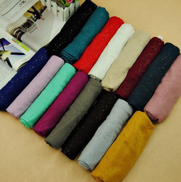 New design women printe glitter cotton shawls flash viscose plain pure color wrap long muslim wrap scarves