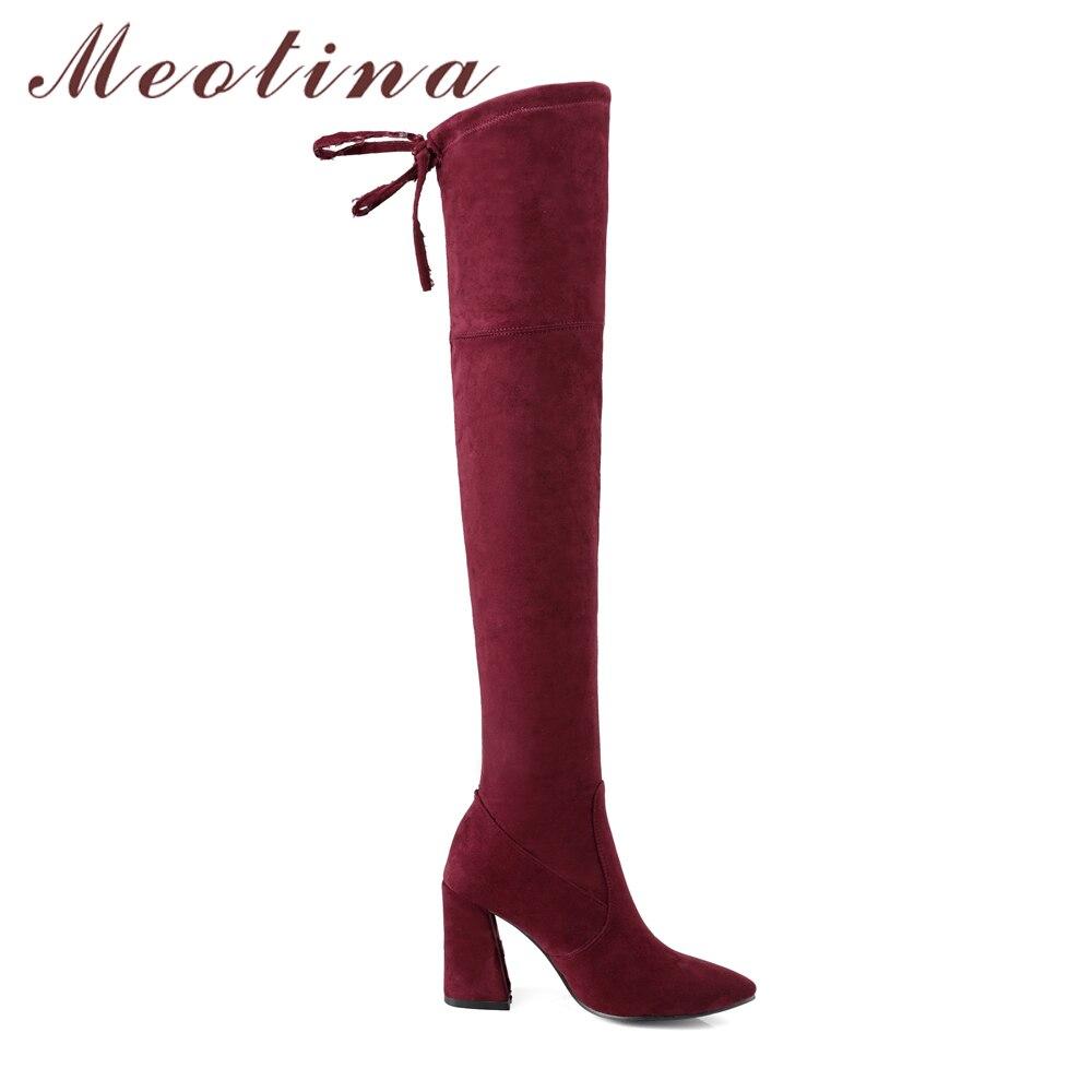 À Dames Pointu Mode De Talons Rouge Chaussures Le vin Meotina Hauts Bout Sur Long Haute Bottes Cuisse Hiver Noir Taille Genou 42 wOqxPZvS