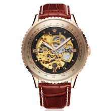 лучшая цена Men Watch Top Brand Luxury Automatic Mechanical Watch Leather Military Watches Clock Men Relojes Masculino Big Dail OUYAWEI saat