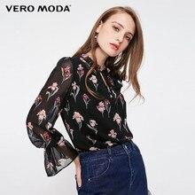 Vero Moda yeni kadın çiçek desen Flared kollu şifon bluz üstleri