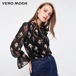 Image 1 - Vero Moda yeni kadın çiçek desen Flared kollu şifon bluz üstleri