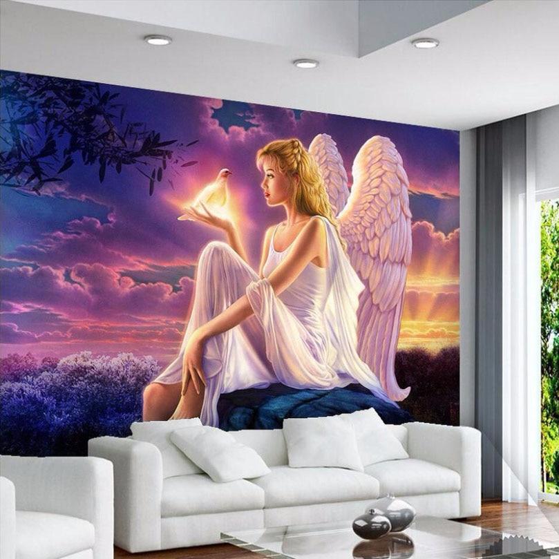 High Quality Custom 3D Photo Wallpaper World Peace Dove Guardian Angel Girl Sunset 3D Wall Mural Wallpaper Living Room Bedroom