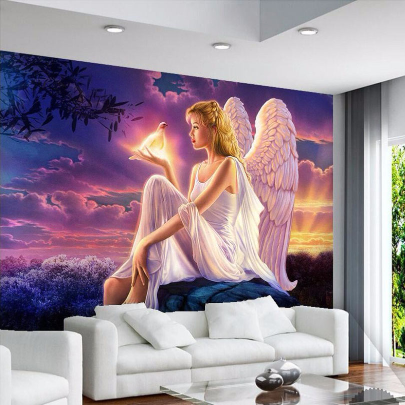 High Quality Custom 3D Photo Wallpaper World Peace Dove Guardian Angel Girl Sunset 3D Wall Mural Wallpaper Living Room Bedroom