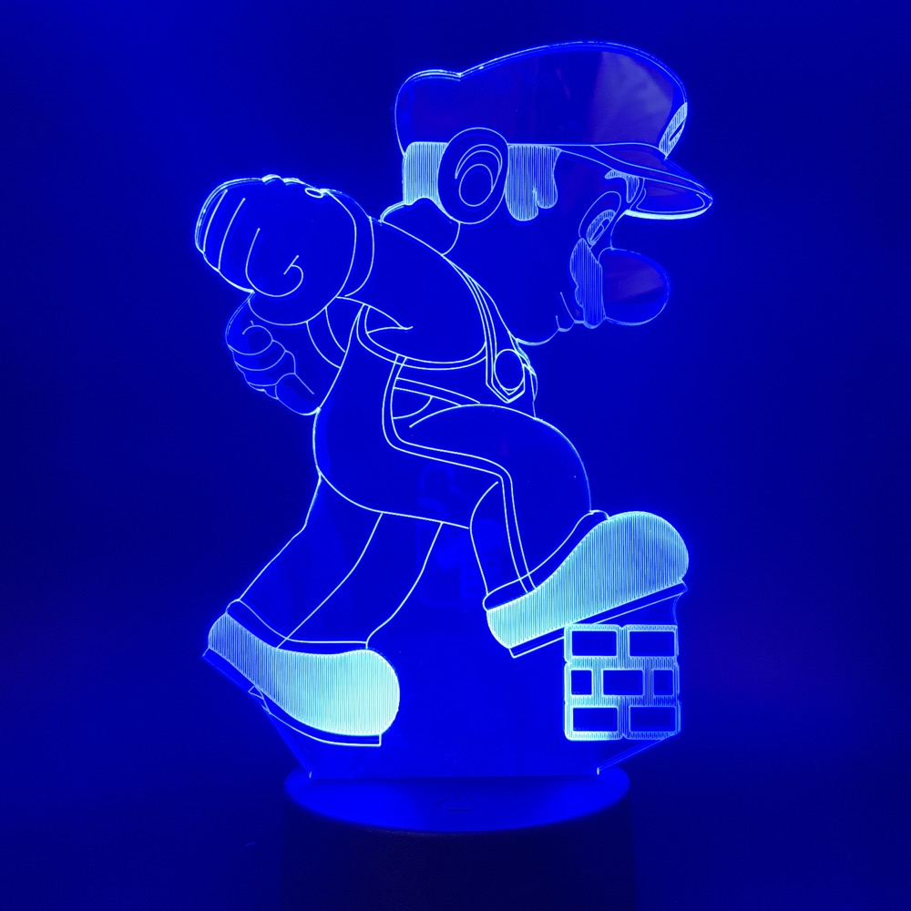 3d Lamp Cartoon Super Mario Stepping on Brick Nintendo The Plumber Best Birthday Gift for Infant Night Light Lamp Color Changing in LED Night Lights from Lights Lighting
