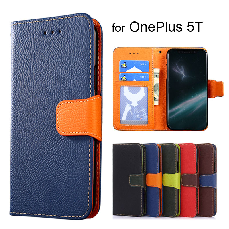 Wallet case for oneplus 5T Litchi pattern PU leather with inside soft TPU cover coque Hit color Fashion style Shock Resistance