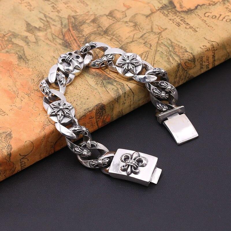 Звездном S925 стерлингов Серебряные ювелирные изделия Мужская New Silver Ретро тайский серебро гексаграмма якорь браслет цепочка и браслет Homme