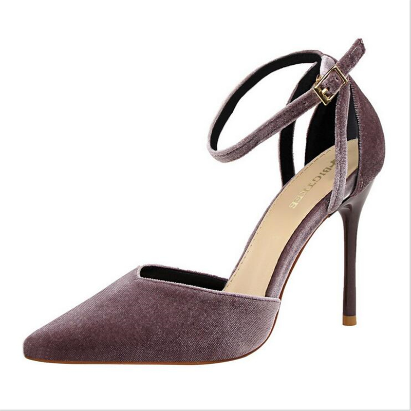 New Pointed Toe Ankle Strap Cover Heels Women Shoes  10cm High Heels Flock Surface Sexy Woman Party Shoes Sandals wholesale lttl new spring summer high heels shoes stiletto heel flock pointed toe sandals fashion ankle straps women party shoes