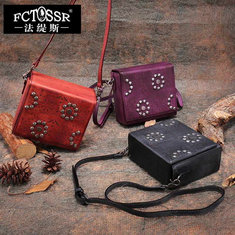 2018 Women Shoulder Bag New Retro Genuine Leather Bags Diagonal Cross Package Handmade Messenger Bag 2017 fashion all match retro split leather women bag top grade small shoulder bags multilayer mini chain women messenger bags