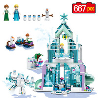 667pcs 2017 New Friends Princess Series Building Block Elsa S Ice Castle Compatible LegoINGLYS Creator Castle