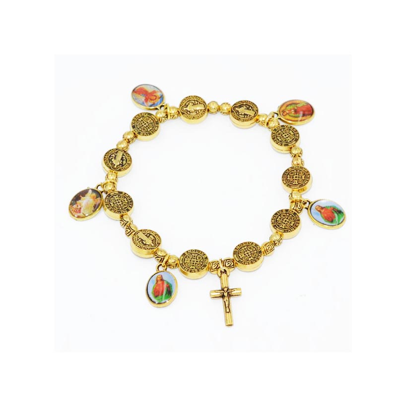 Beautiful Elasticated Metal Bracelet With Small Round Or Heart Alloy Beads Random Catholic Saints Images Factories And Mines