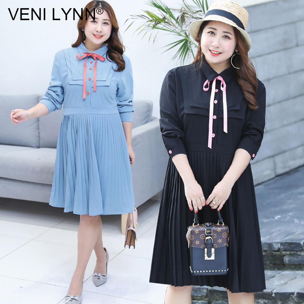 VENI LYNN Plus Size Autumn Large Women s Fashion Pleated Blue Knee Length Dress Preppy Style