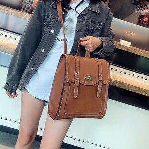 Image 4 - 2019 NEW Fashion Backpack 2pcs Set Women Backpack PU Leather School Bag Women Casual Style A4 Paper Women Backpacks Shoulder Bag