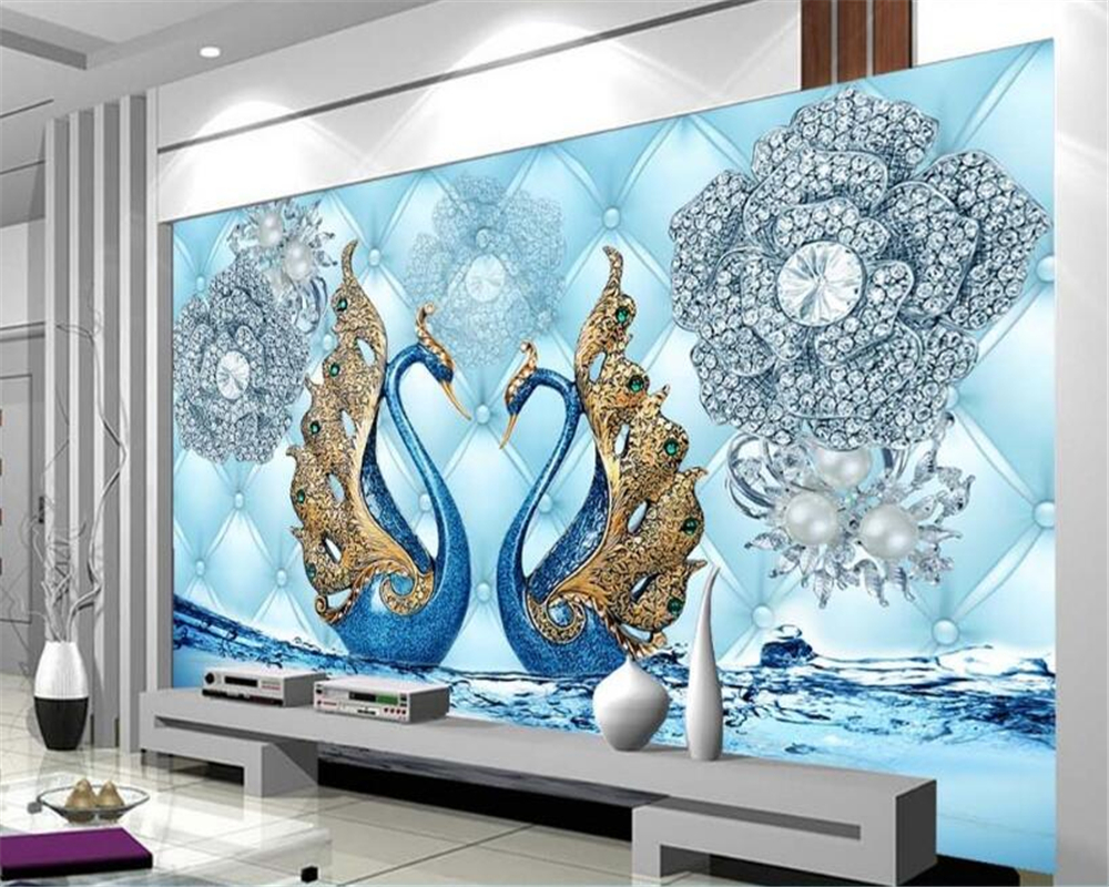 Beibehang Custom Photo Wall Mural 3d Wallpaper Luxury: Beibehang Custom Wallpaper Luxury 3d Swan Diamond Flower