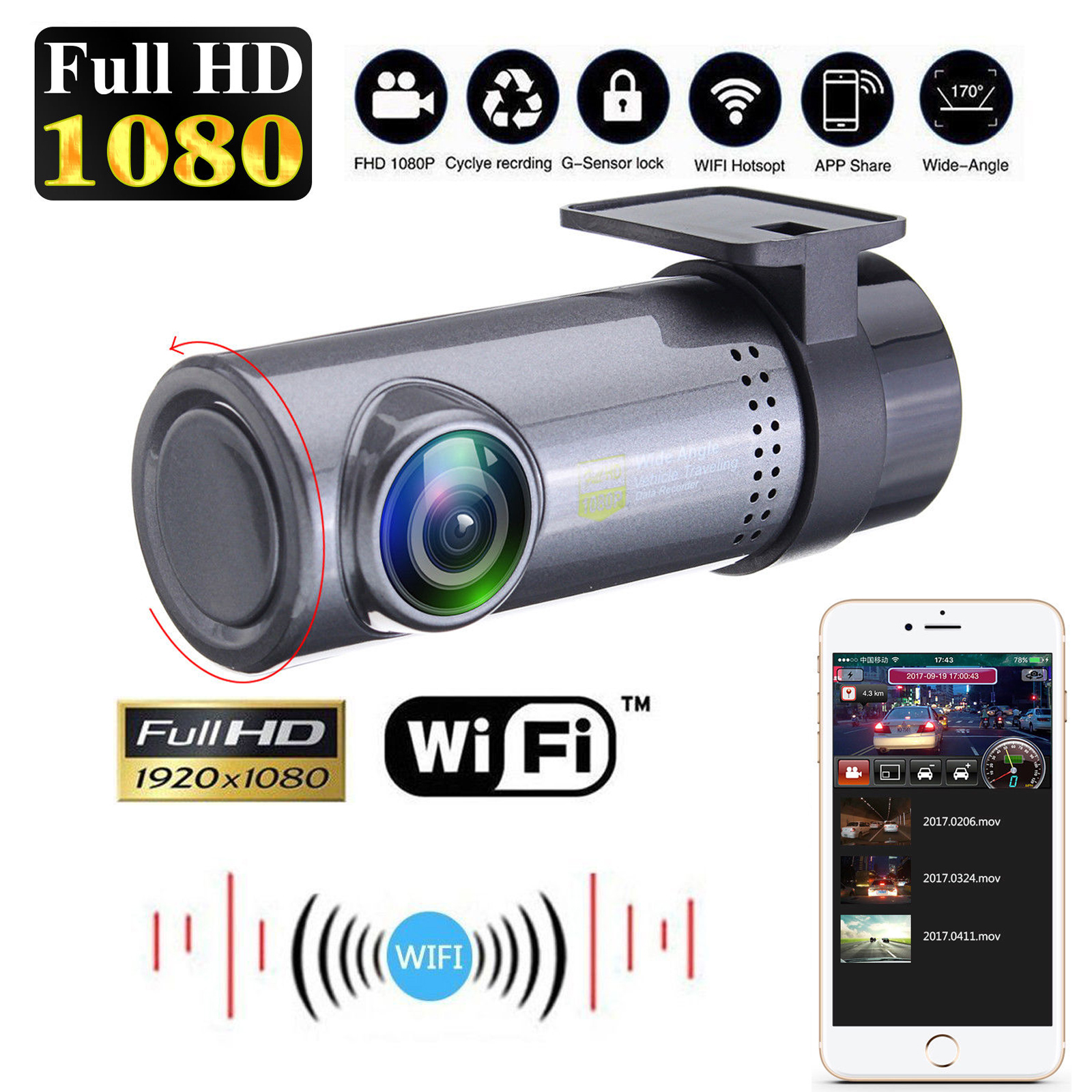 Full HD 720P Wide Angle Lens Wifi USB Mini Car Camcorder Car DVR Park Monitoring with Night Vision for iPhone Android ht200a 1 5 lcd 5 0mp wide angle car dvr camcorder w sd mini usb mini hdmi black blue