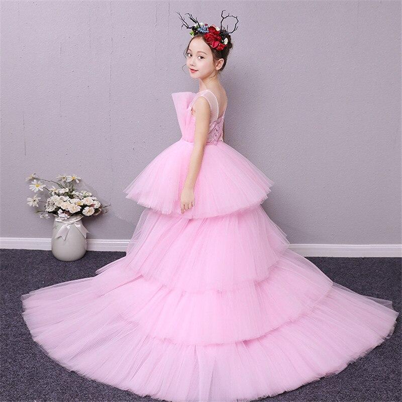 2018 Summer New Children Girls Gorgeous Cake-Layered Mesh Tail Dress For Host Piano Pageant Kids Baby Birthday Evening Dress цена 2017