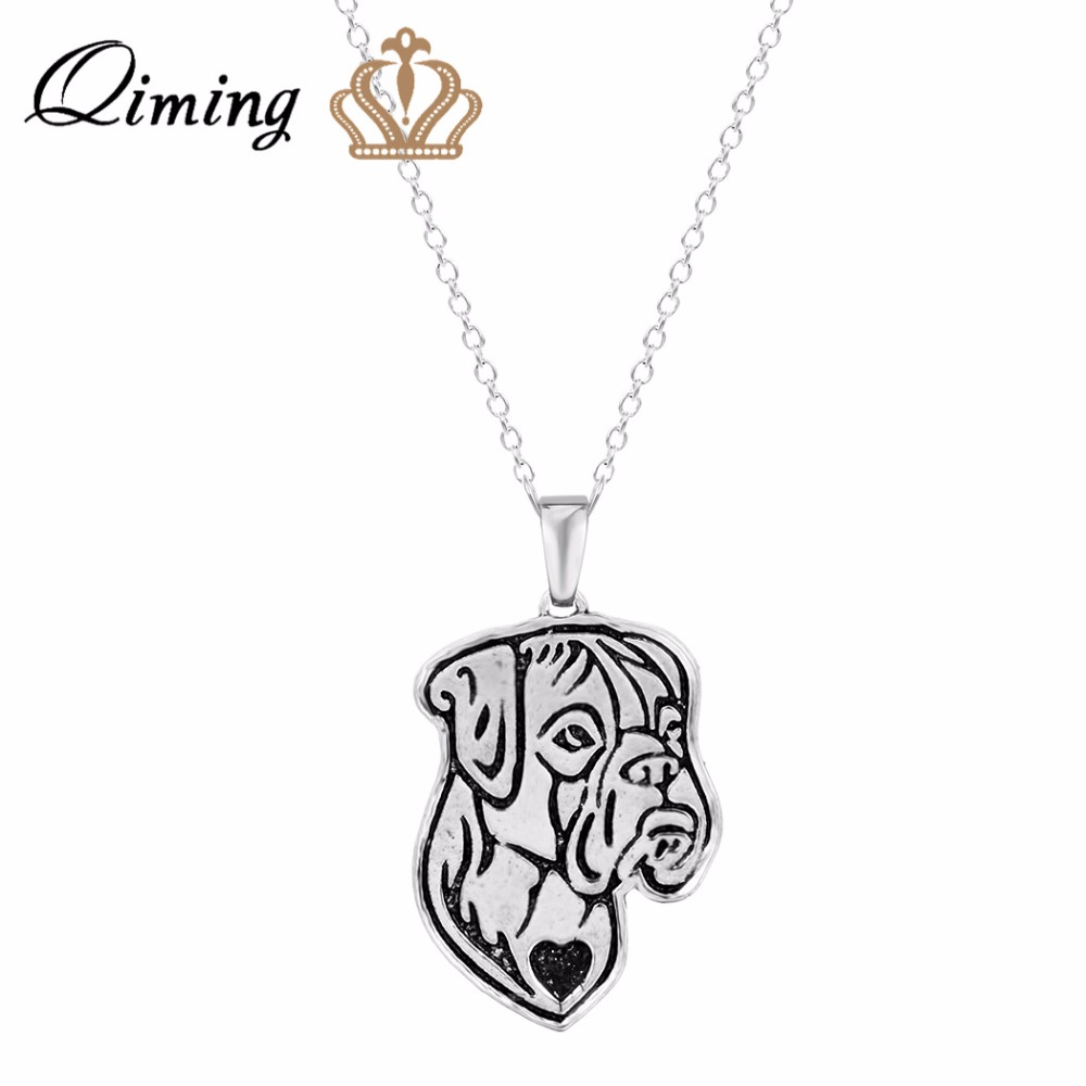 QIMING 10pcs Wholesale Handmade 3D Love Dogs Charms Necklave Boxer Jewelry Pendant Necklace Dog Jewelry for Women Girl Gift