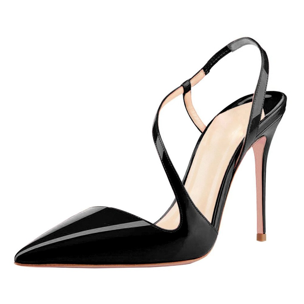 ФОТО Amourplato Women's Pointed Toe Slingback Pumps Cut Out Elastic Strap Party Dress Shoes Stiletto Heels