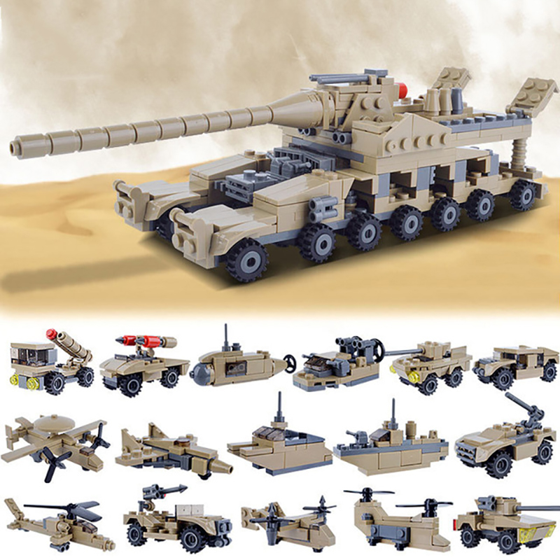 KAZI Military Building Blocks DIY 16 in 1 World War Weapons German Tank Airplane Army Bricks Toys Sets Educational Toy For Kids kazi 228pcs military ship model building blocks kids toys imitation gun weapon equipment technic designer toys for kid