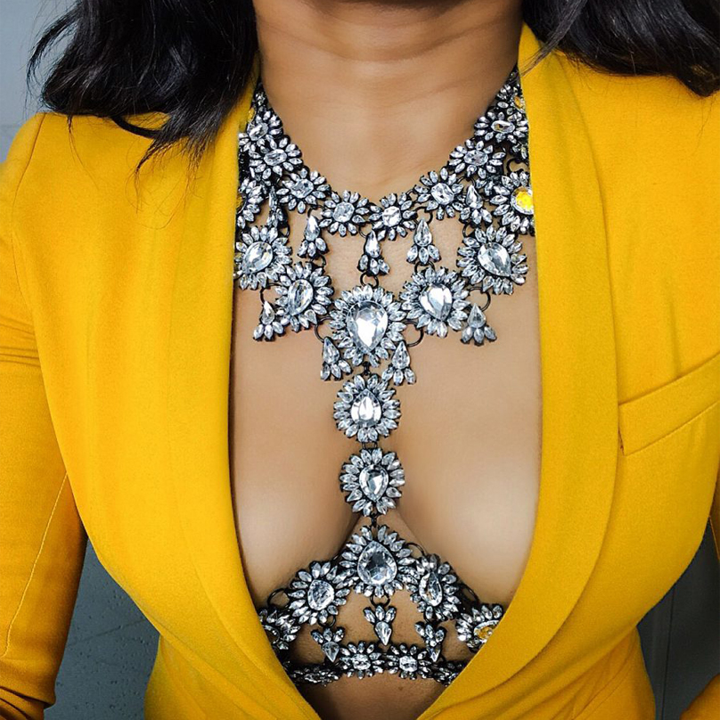 Best lady New Summer Long Body Necklace Chain Sexy Handmade AB Crystal Gem Chunky Maxi Luxury Gem Statement Necklace Femme 3415 пояс утягивающий maxi sexy hi