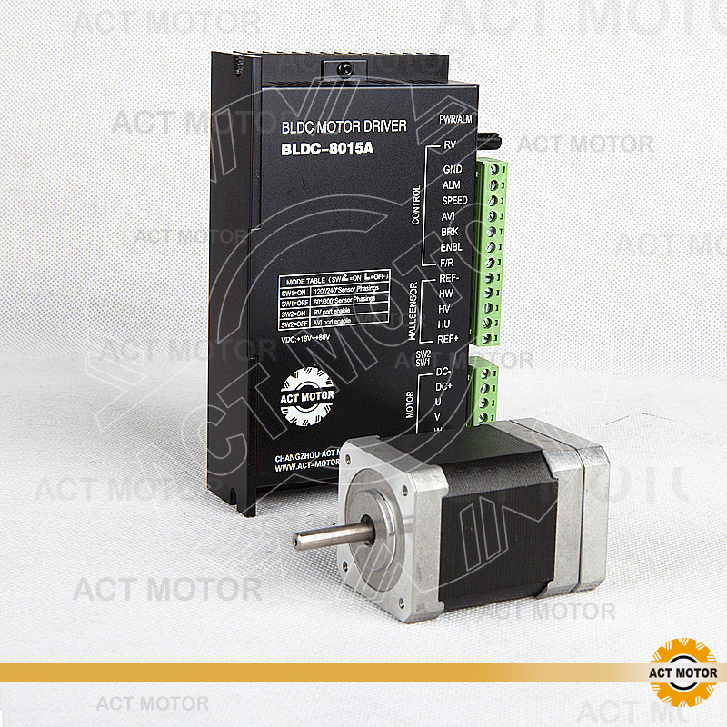 ACT Motor 1PC Nema17 Brushless DC Motor 42BLF02 24V 52W 4000RPM 3Ph  Single Shaft+1PC Driver BLDC-8015A 50V CNC Plasma Laser brushless motor driver 24v 200w bldc motor driver controller for 180w dc dc fan or motor 7 15a