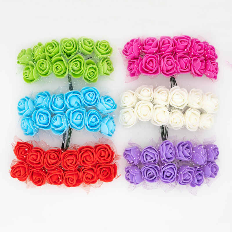 12pcs Foam Roses Mini Lace Artificial Flower Head Tiny Fake Flower Scrapbooking  Diy Wedding Flower Ball Garland Decoration 2cm