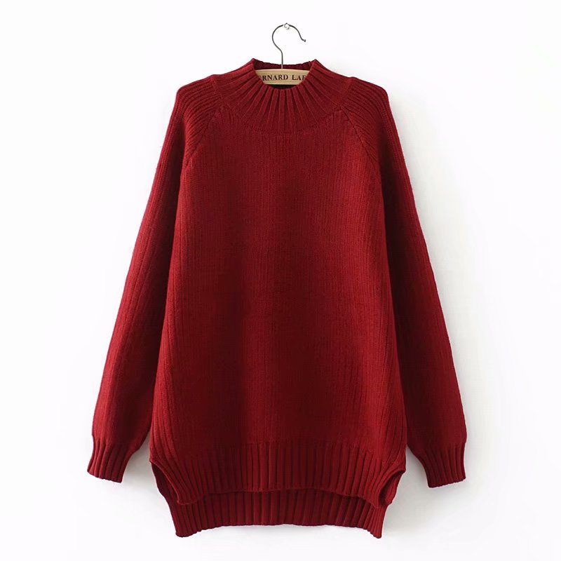 Plus size red & black & dark green winter women pullovers 2018 Turtleneck Knitted casual ladies oversize sweater wool female
