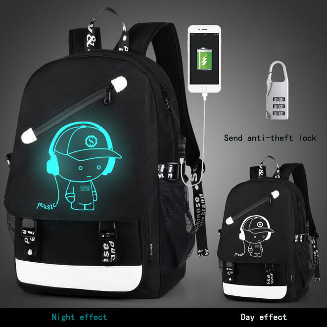 Senkey Style Men Backpack Cartoon Luminous Package Glow USB Charge School Bags For Teenagers Waterproof Laptop