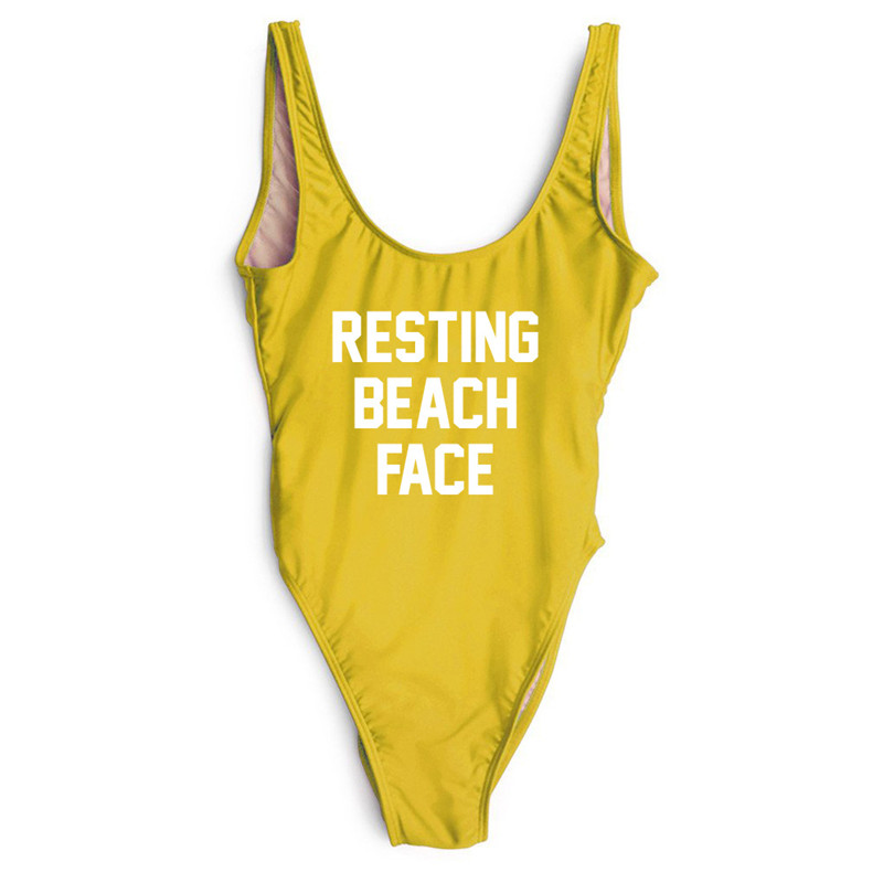 RESTING BEACH FACE One Piece Swimsuit 2018 Sexy Women Funny Bathing suit Bodysuit Swimwear Beachwear High Cut Yellow Monokini