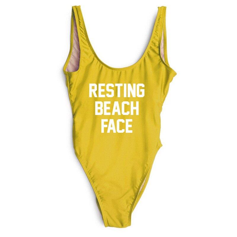 RESTING BEACH FACE One Piece Swimsuit 2018 Sexy Women Funny Bathing suit Bodysuit Swimwear Beachwear High Cut Yellow Monokini