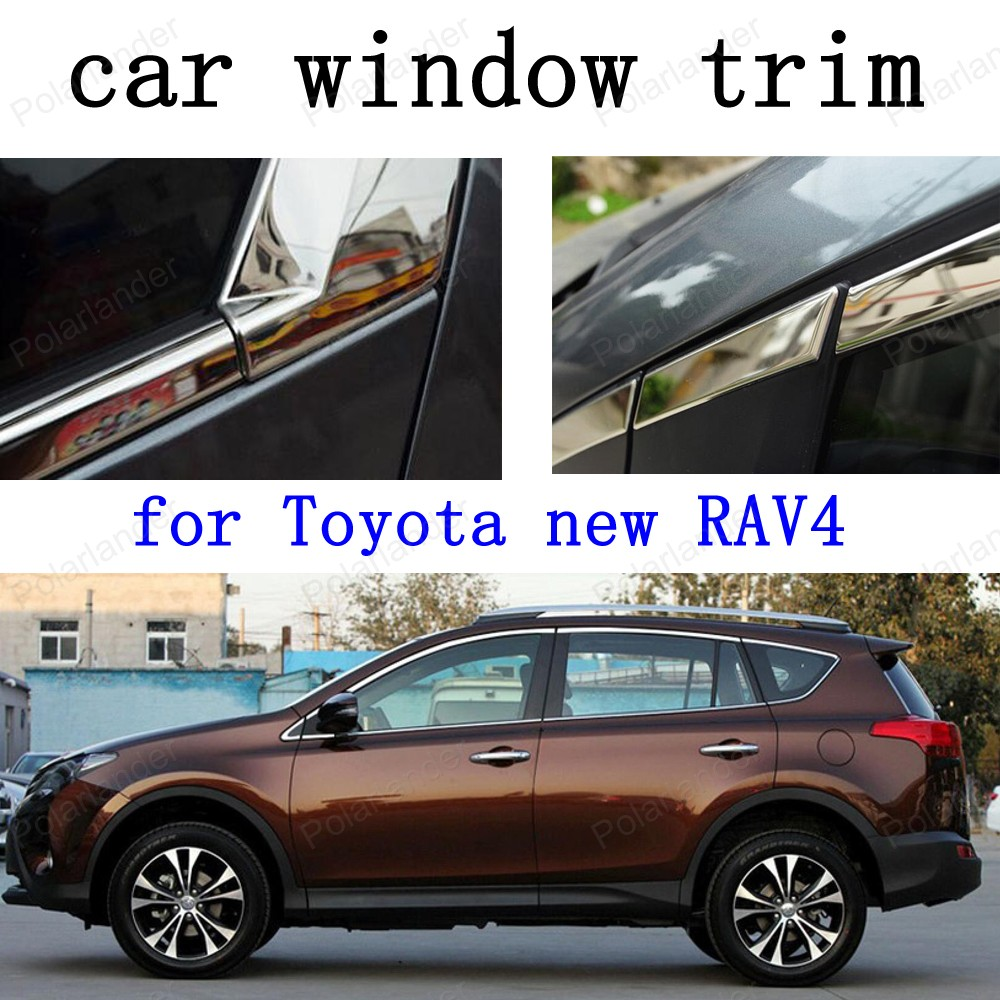 Car Exterior Accessories Decoration Strips for Toyota new RAV4 Stainless Steel Window Trim car stying