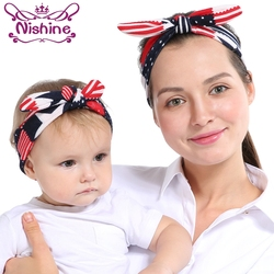 Nishine 2pcs/set Mom Rabbit Ears Hair Ornaments Tie Bow Headband Hair Hoop Stretch Knot Bow Cotton Headbands Hair Accessories