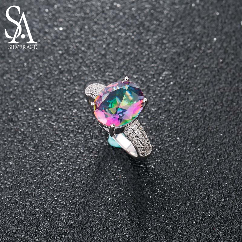 SA SILVERAGE 925 Sterling Silver Colorful Stone Wedding Rings For Women Fine Jewelry Luxurious Zircon Ring Set 2018 New Design