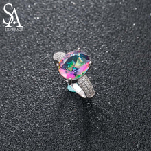 цена SA SILVERAGE 925 Sterling Silver Colorful Stone Wedding Rings for Women Fine Jewelry Luxurious Zircon Ring Set 2018 New Design онлайн в 2017 году