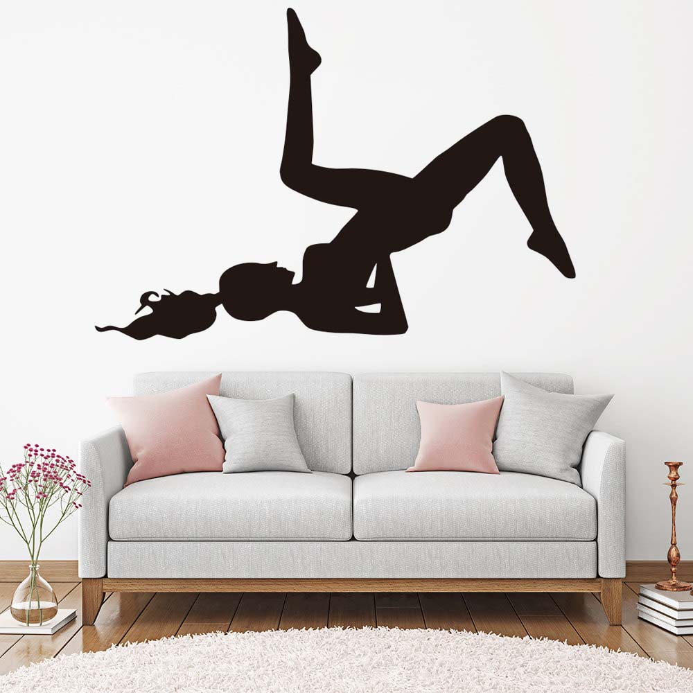 yoga wall pose indian removable vinyl silhouette sticker bedroom stickers yogo decals decor