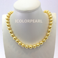 WEICOLOR Lovely 10mm Round Golden Mother Pearl Jewelry Necklace