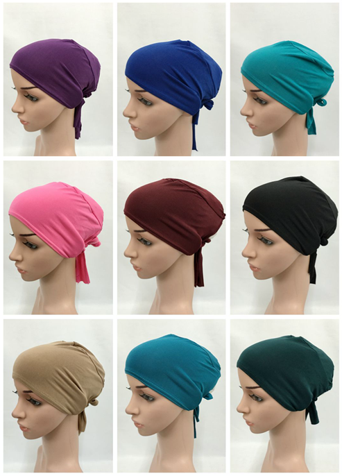 50 pieces lot muslim tie back hats islamic underscarf can choose colors HW1111