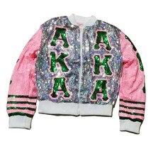 Блестки с длинным О-образным вырезом розовый зеленый Alpha Kapp женское сообщество Альфа AKA письмо Куртки с пайетками Bling Клубная верхняя одежда и пальто