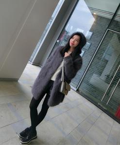 Image 3 - Suéter vintage com capuz feminino, cardigans de caxemira macia e natural com capuz, vison real, wsr336, 2020