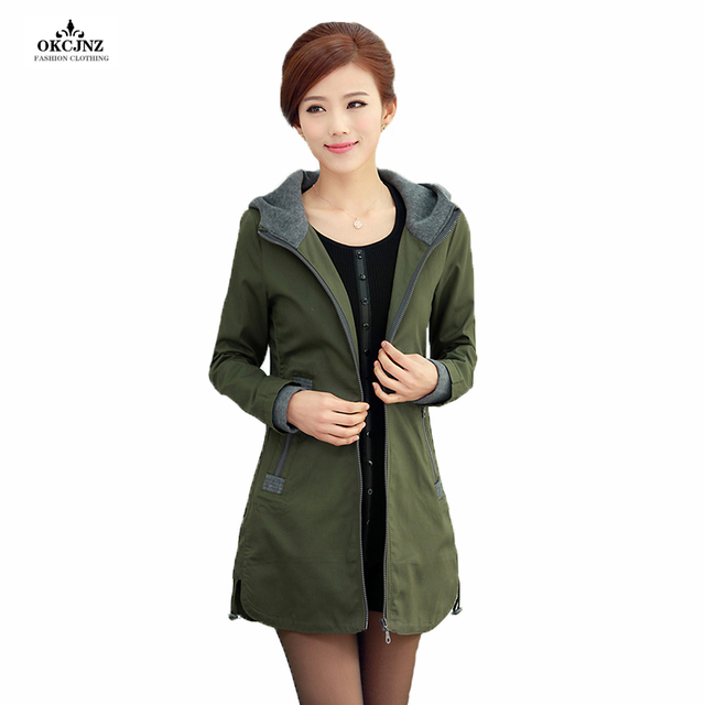 ac5fe13c4e8fd 2018 Middle Age Women Spring Autumn Trench Coat Plus Size Casual Hooded  Long Outerwear Female Clothes Fashion Trench Coats OK67W
