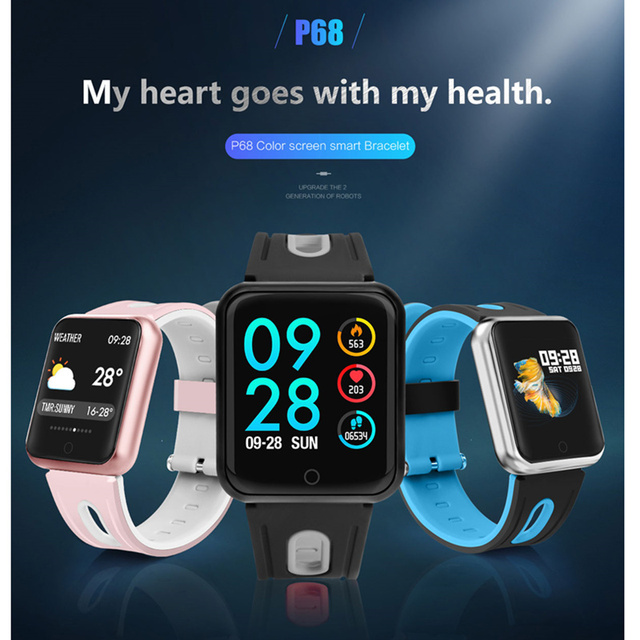 fitness bracelet watch P68 ip68 waterproof  for apple watch xiaomi  ios  Android with heart rate monitor smart band +earphone 1