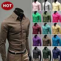 2019 Mens Slim Fit Einzigartige Ausschnitt Stilvolle Kleid Langarm Casual Shirts Herren Hemd Camisa Camisas Masculina drehen-unten kragen